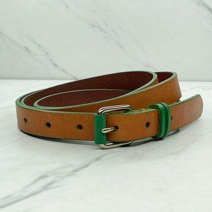 Lands' End Brown Green Skinny Genuine Leather Belt